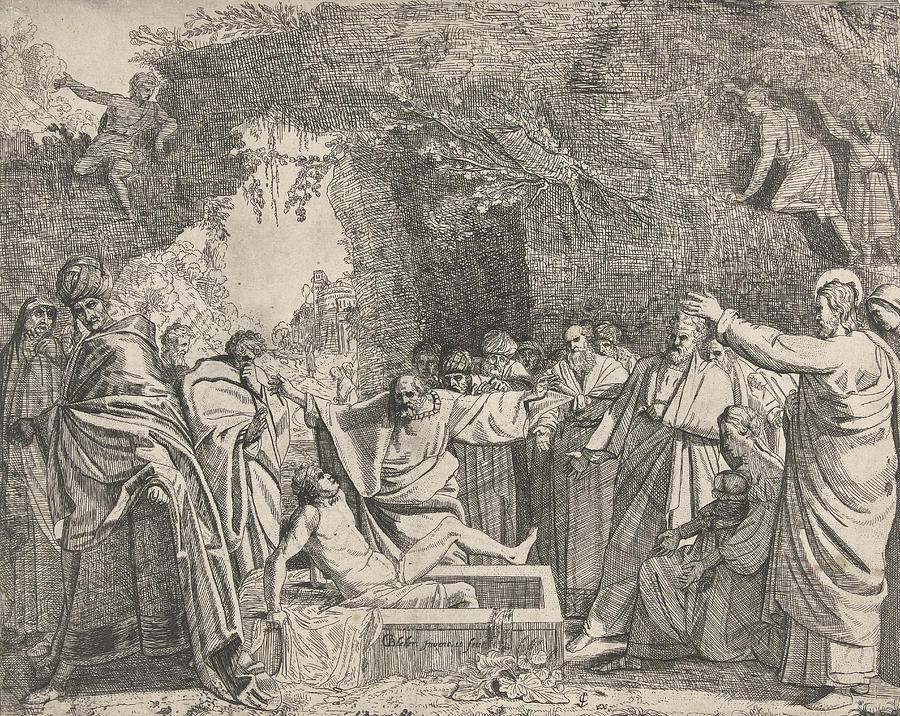 Lazarus Drawing - Raising Of Lazarus, Gerrit Bleker by Gerrit Bleker And Claes Jansz. Visscher (ii)