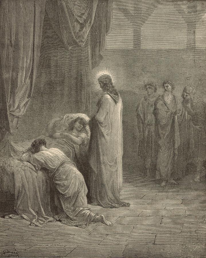 Biblical Drawing - Raising The Daughter Of Jairus by Antique Engravings