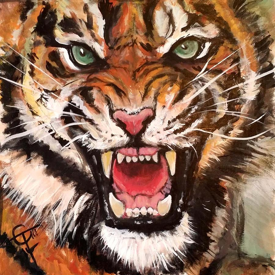 Tiger Painting - Raja by Tom Carlton