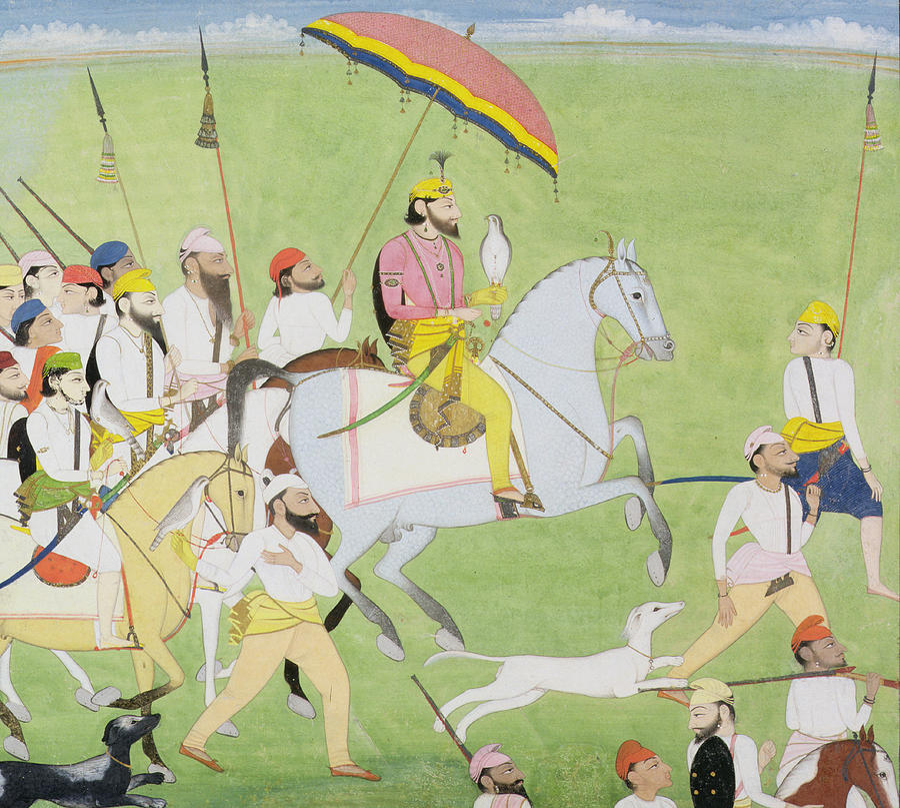 Miniature Painting - Rajah Dhian Singh Hunting by Indian School