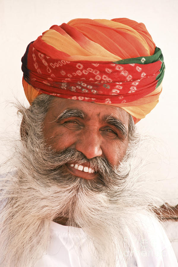 rajastan indian man with long white beard and colorful. Black Bedroom Furniture Sets. Home Design Ideas