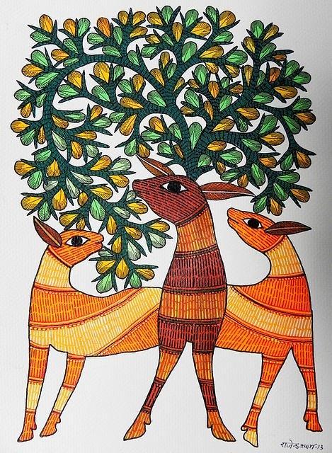 Indian Tribal Art Painting - Raju 84 by Rajendra Shyam