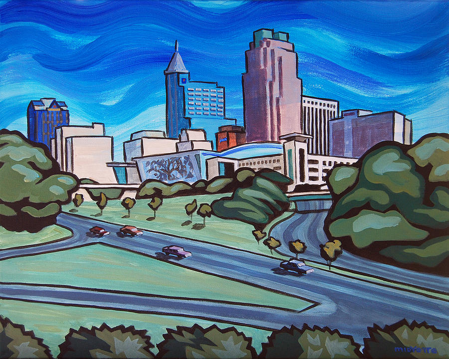 Raleigh Skyline 4 Painting By Tommy Midyette