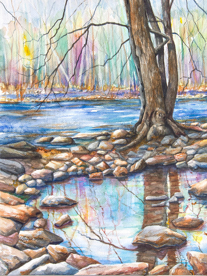 A Pool Of Water Splashed From The Flowing  River; It Is Early Spring And The Trees Are Dreaming Of Blooming In Pastel Shades. A Staid Tree Reflects Itself Perfectly In The Quiet Pool Surrounded By The Rocks Of The Shoreline.  Painting - Ralph Stover Park In The Spring by Patricia Allingham Carlson