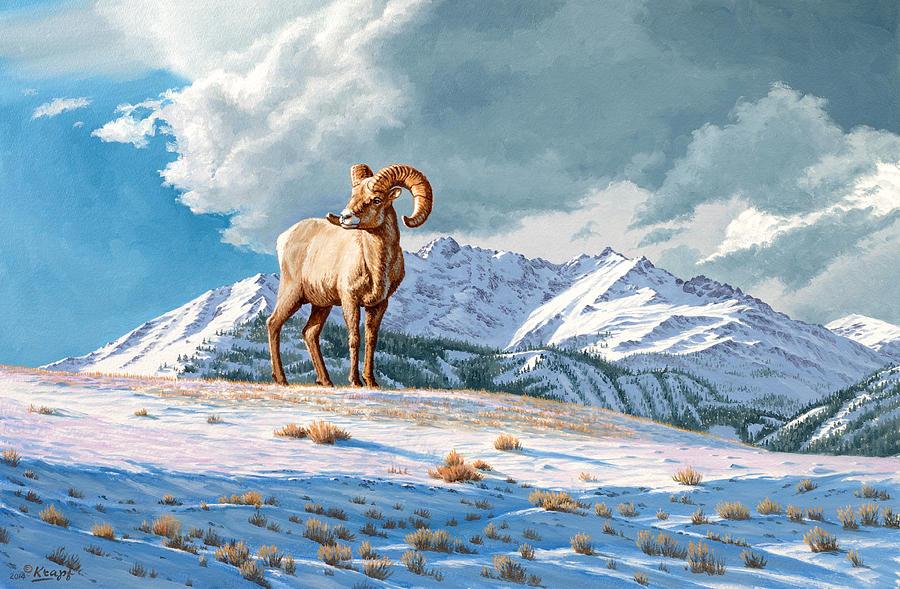 Bighorn Sheep Painting - Ram And Electric Peak by Paul Krapf