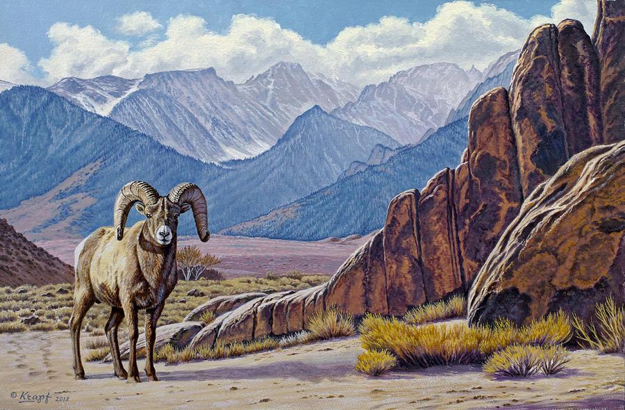 Wildlife Painting - Ram-eastern Sierra by Paul Krapf