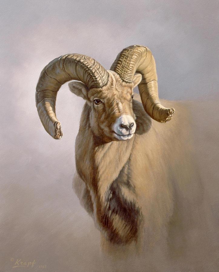 Wildlife Painting - Ram Portrait by Paul Krapf