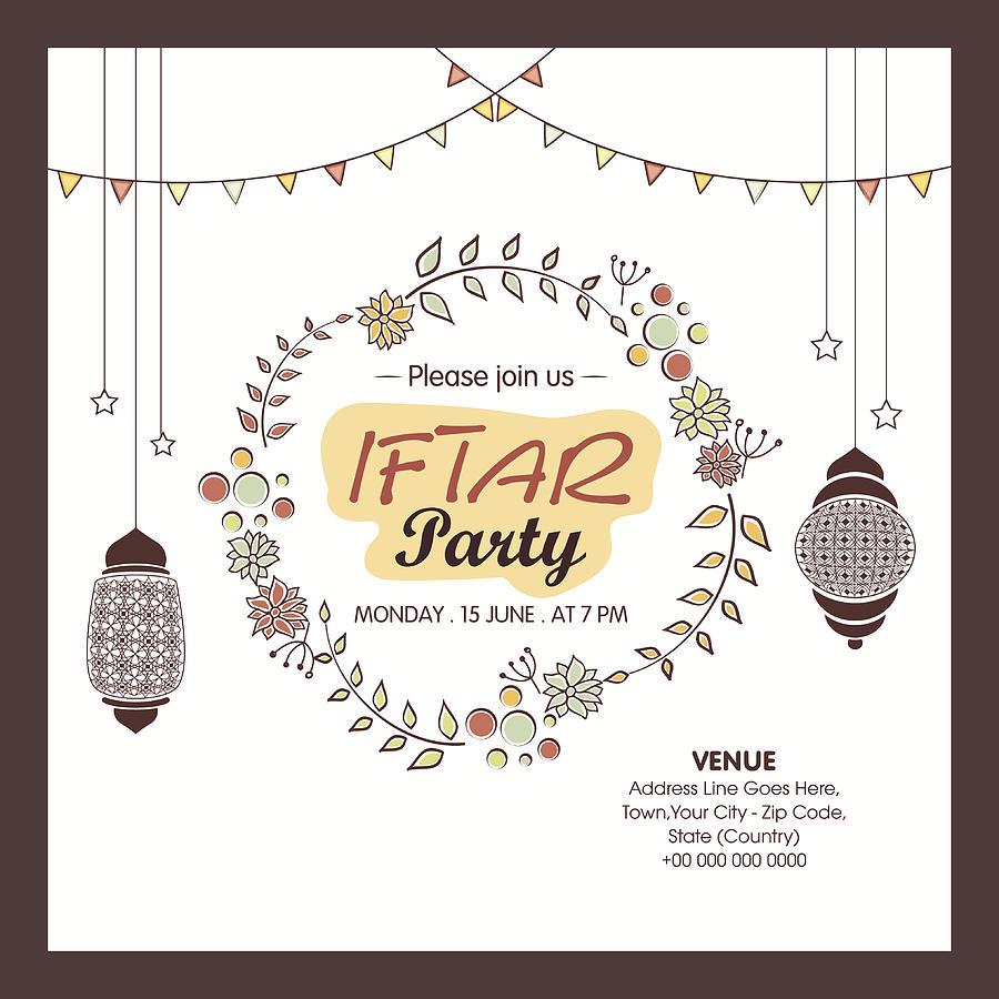 Ramadan Kareem Iftar Party Celebration Invitation Card By Aqabiz