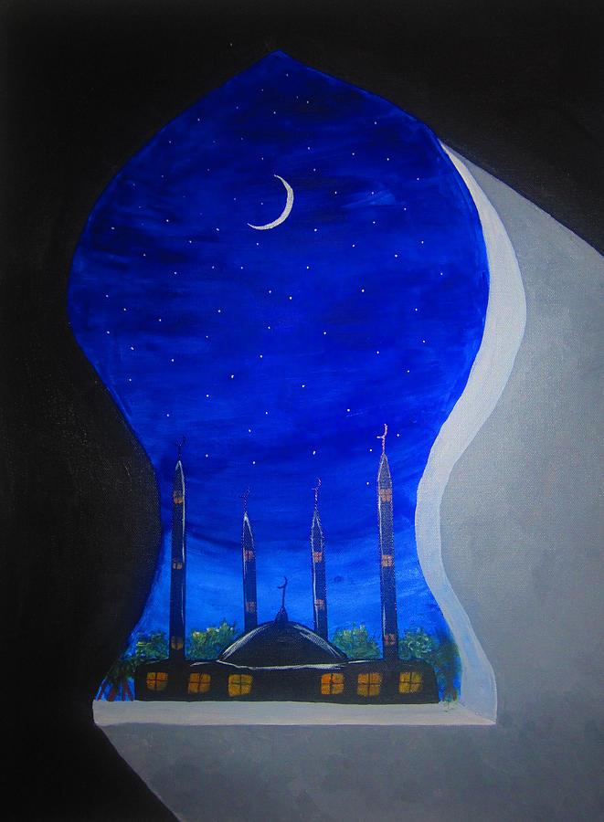 Ramadan Moon Painting by Haleema Nuredeen