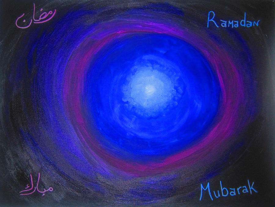 Abstract Painting - Ramadan Mubarak by Haleema Nuredeen