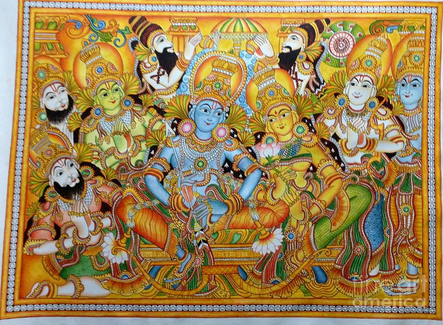 Ramar pattabhishekam in kerala mural painting by kayathiri for Buy kerala mural paintings online