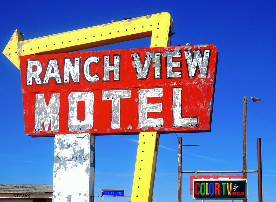 Sign Photograph - Ranch View Motel by Gia Marie Houck
