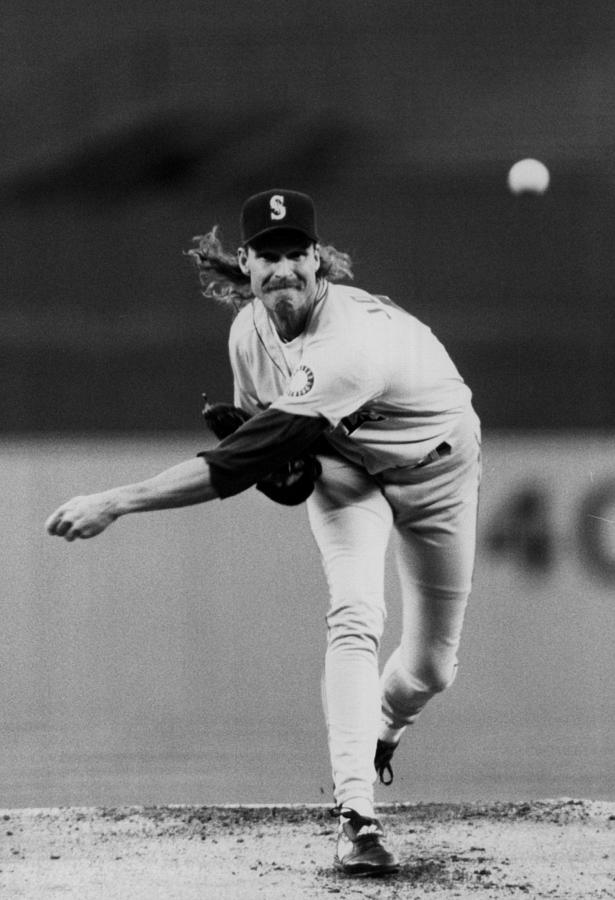 Randy Johnson of the Seattle Mariners... Photograph by The Sporting News