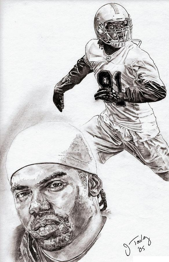 Randy Moss Drawing - Randy Moss by Jonathan Tooley