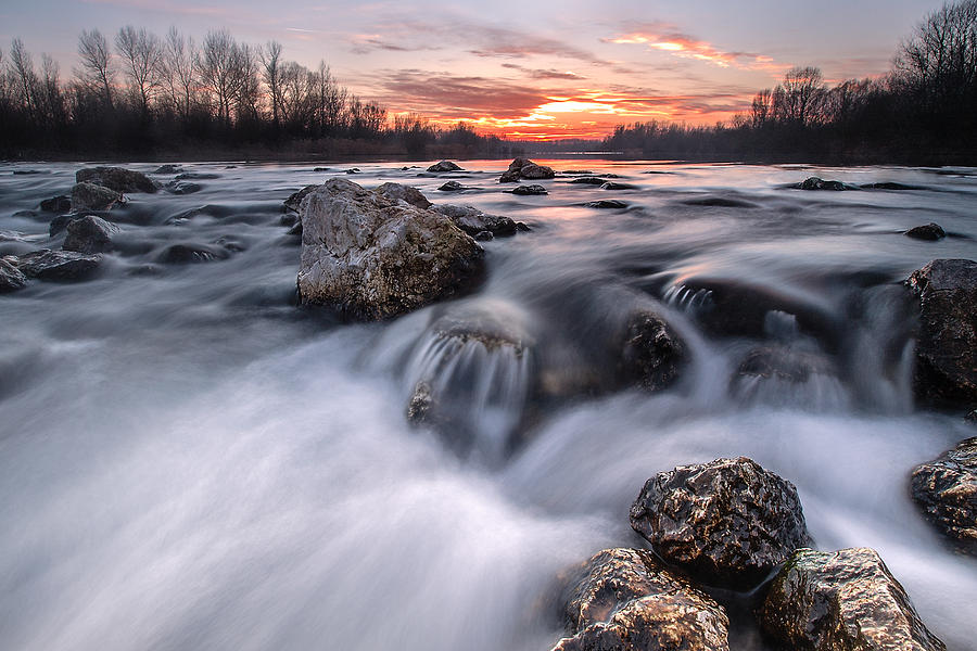 Landscapes Photograph - Rapids On Sunset by Davorin Mance