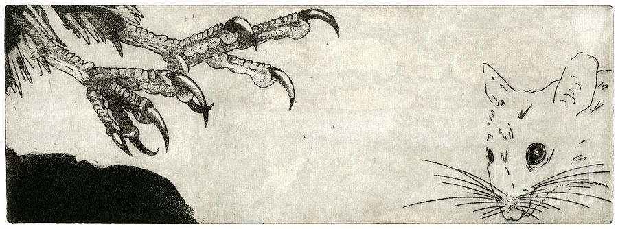 Raptor And Mouse - When There Is No Way Forward - Predator-prey System - Food Chain - Etching Series Painting