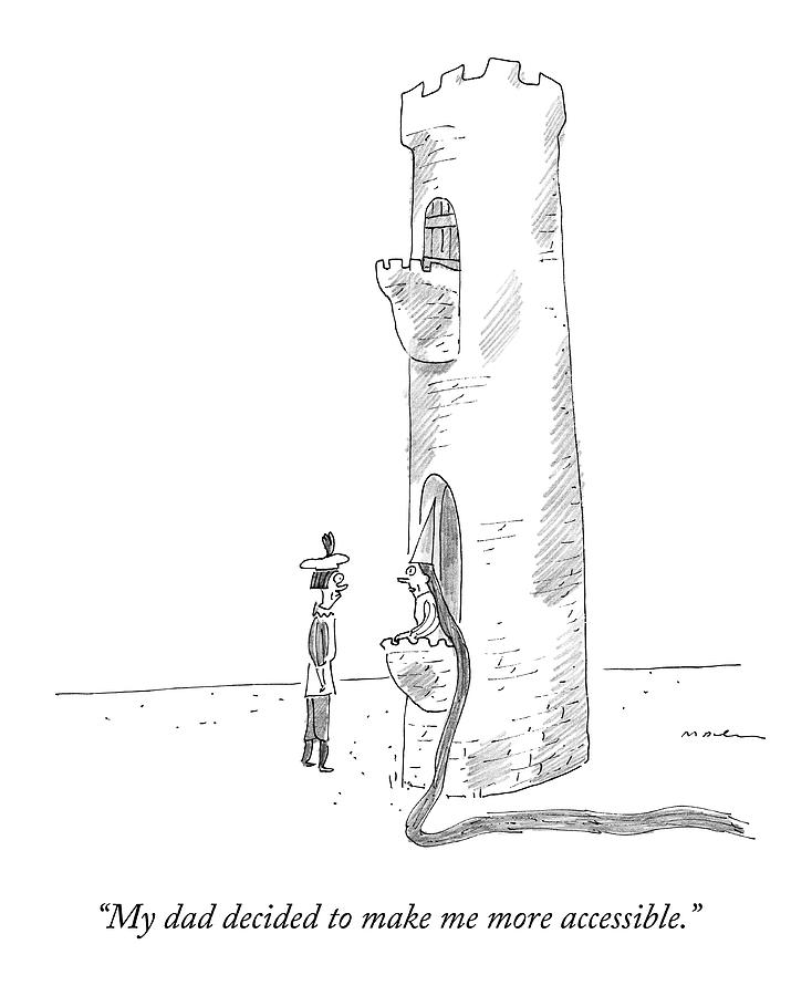 Rapunzel Speaks To A Man From The Ground-floor Drawing by Michael Maslin