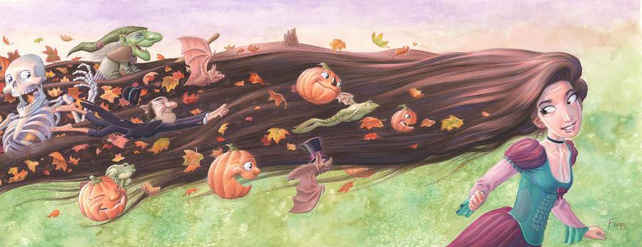 Rapunzel's Halloween Painting - Rapunzels Halloween by Richard Moore