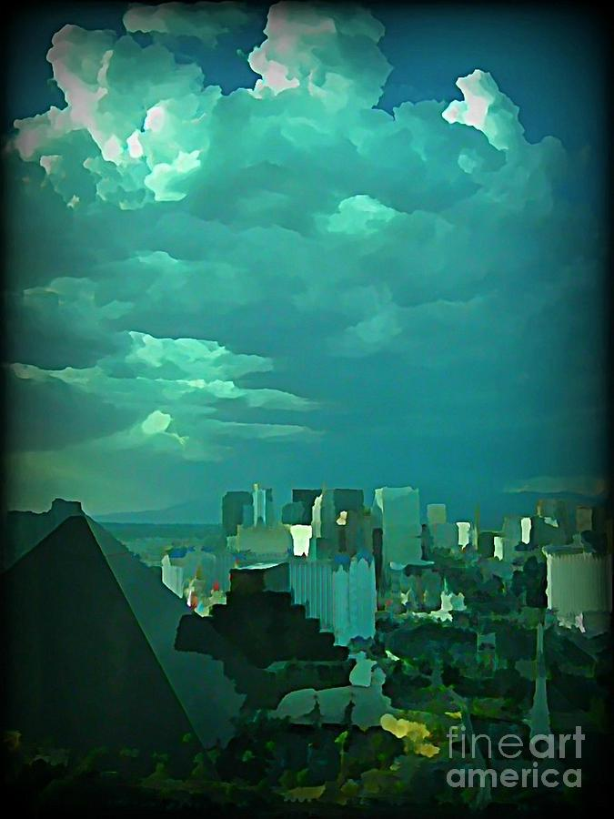 Storms Painting - Rare Clouds Over Vegas by John Malone