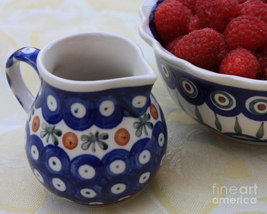 Raspberries Photograph - Raspberries With Cream by Carol Groenen