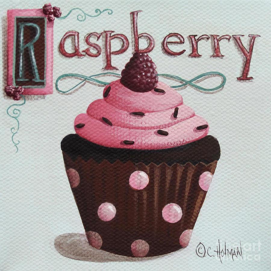 Cupcake Painting - Raspberry Chocolate Cupcake by Catherine Holman