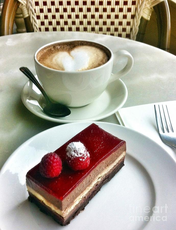 Coffee Photograph - Raspberry Delice And Latte by Susan Garren