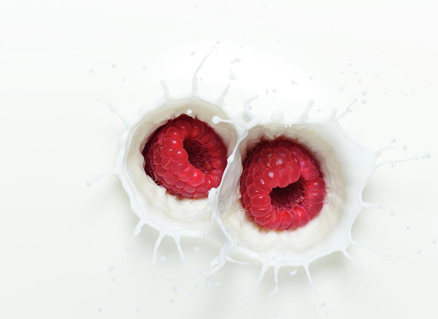 Raspberry Milk Splash Photograph by Chris Stein