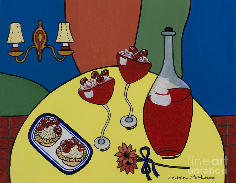 Cafe Art Painting - Raspberry Wine by Barbara McMahon