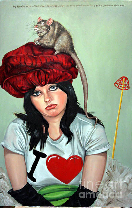 Animals Painting - Rat Hat by Shelley Laffal