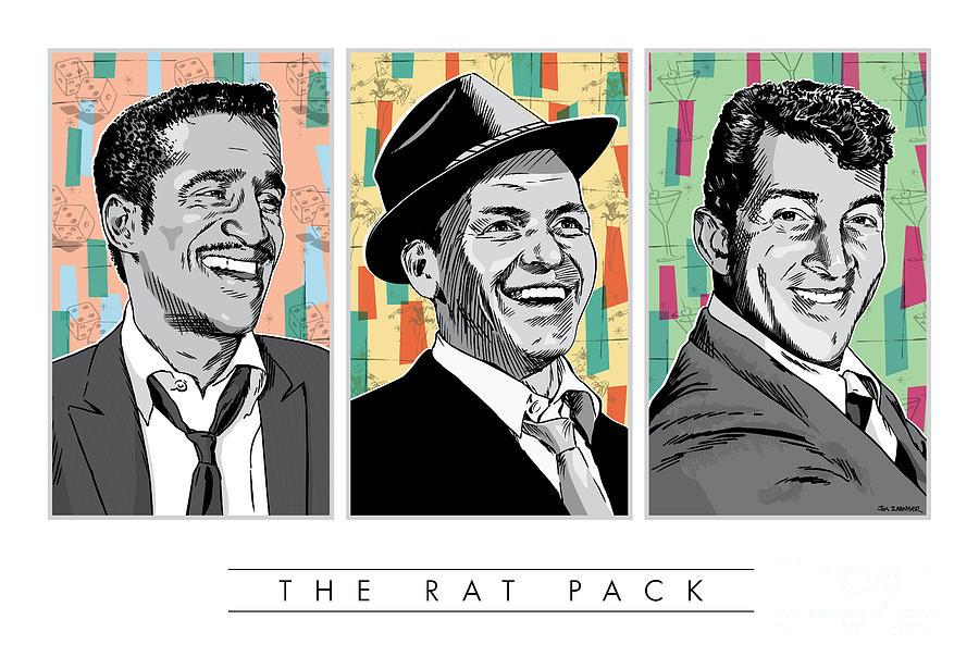 Music Digital Art - Rat Pack Pop Art by Jim Zahniser