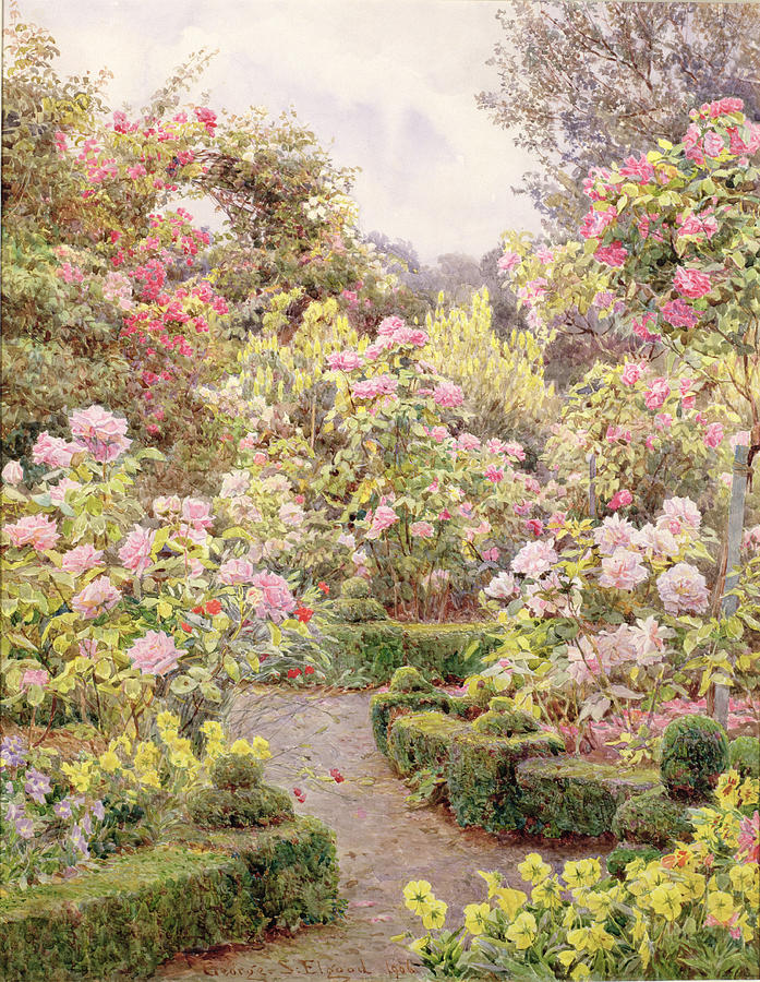 Topiary Painting - Raundscliffe - Everywhere Are Roses by George Samuel Elgood