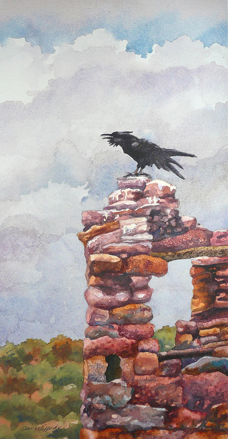 Raven at Hovenweep Painting by Anne Gifford