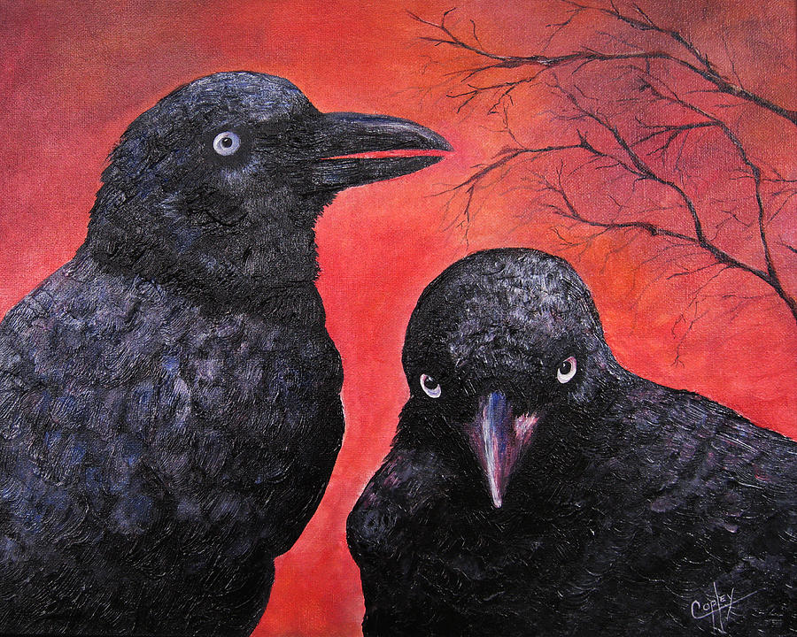 Ravens Painting - Raven Chatter by Karen Copley