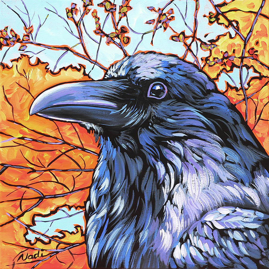 Raven Painting - Raven Head by Nadi Spencer
