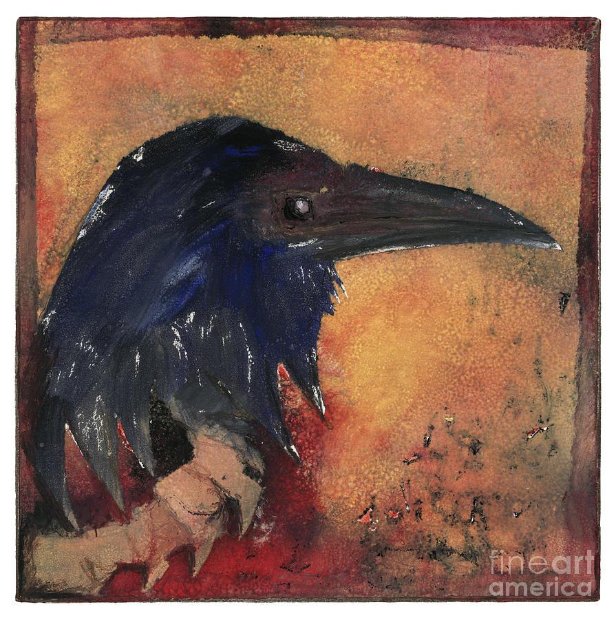 Raven - Middle Ages - Bird Of Ill Omen - Gallows Bird - Scavenger Bird - Fine Art Print -stock Image Painting