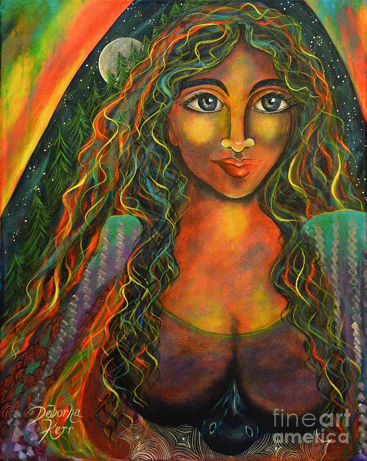Contemporary Symbolism Painting - Raven Moon by Deborha Kerr