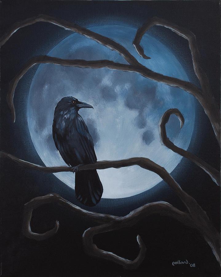 Gothic Painting - Raven Moon by Glenn Pollard