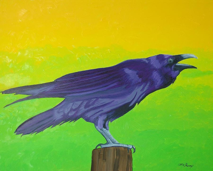 Raven Painting - Raven Singing by John  Sweeney