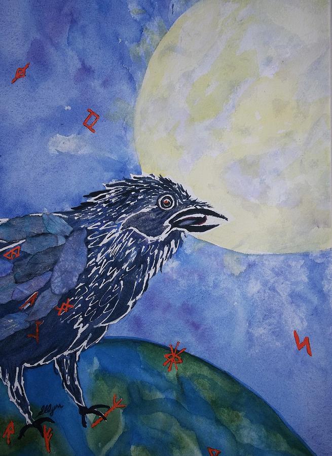 Crow Painting - Raven Speak by Ellen Levinson