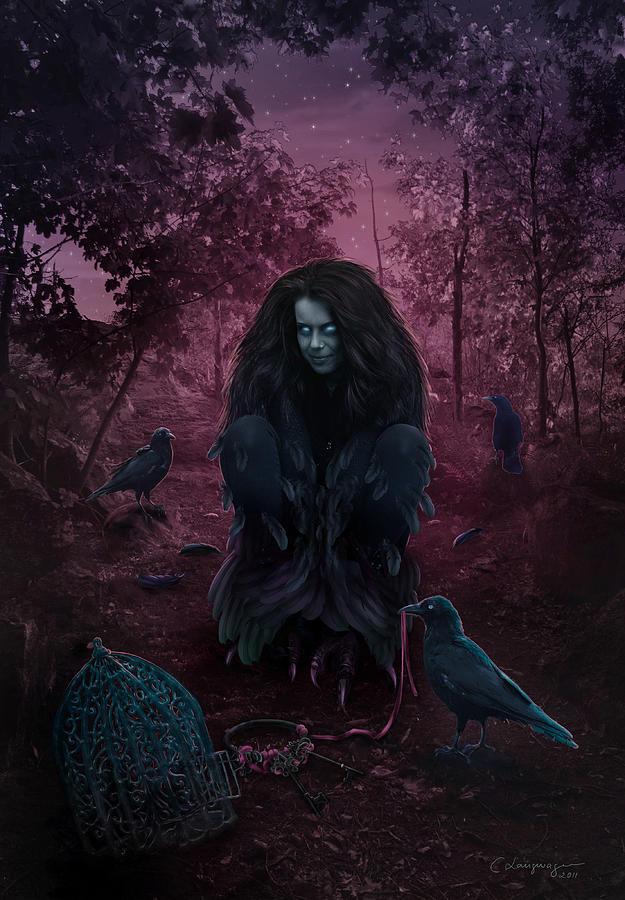 Fantasy Digital Art - Raven Spirit by Cassiopeia Art