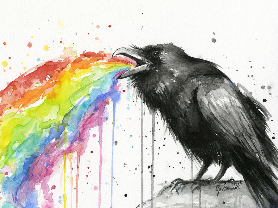 Raven Painting - Raven Tastes The Rainbow by Olga Shvartsur