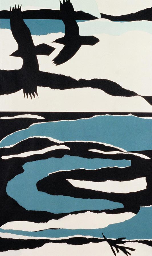 Paper Painting - Ravens by John Wallington