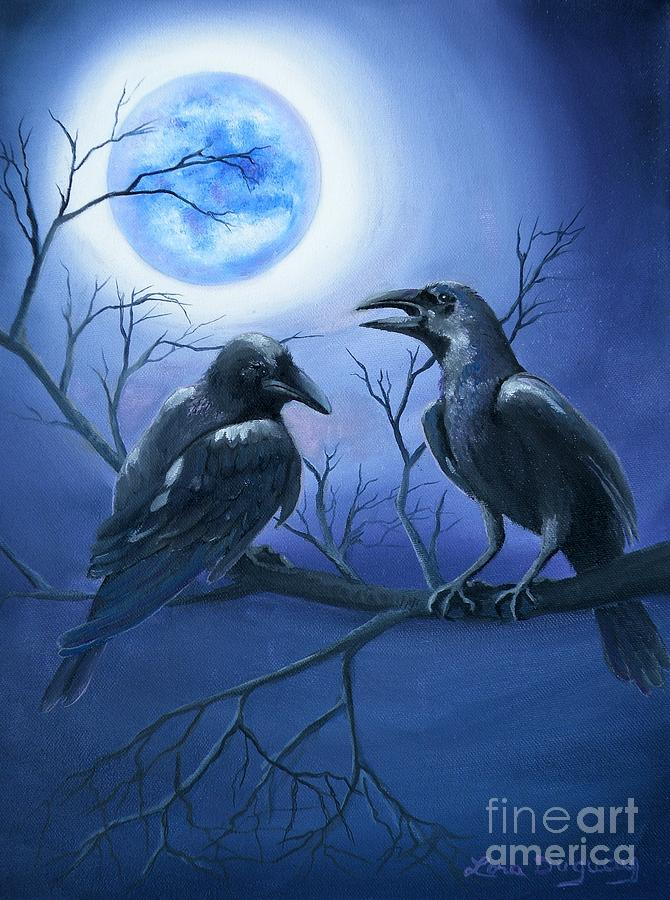 Ravens Painting - Ravens Moon by Lora Duguay