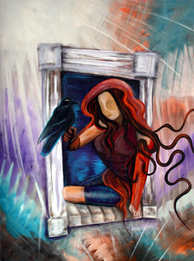 Raven Painting - Ravens Wish by Laura Barbosa