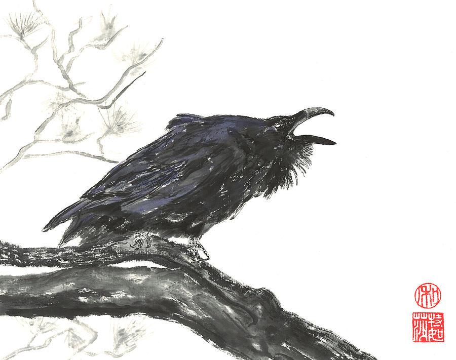 Japanese Painting - Raving Raven by Terri Harris
