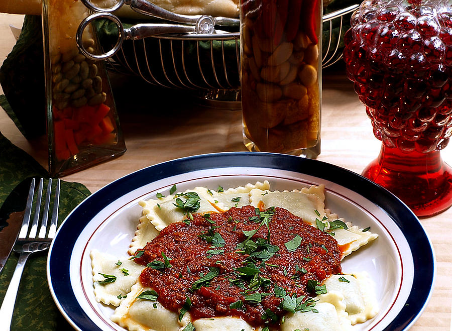 Red Sauce Photograph - Ravioli by Camille Lopez