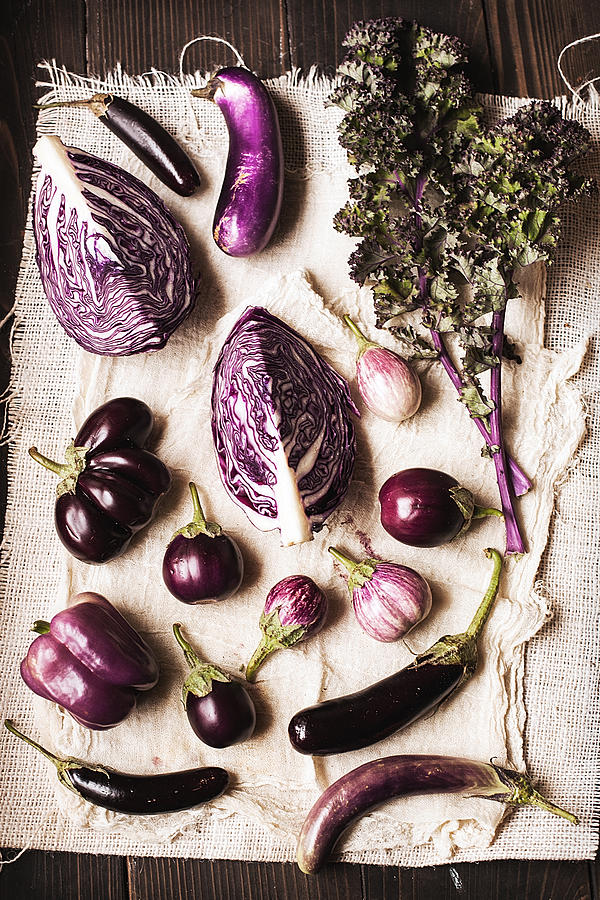 Raw Purple Vegetables Photograph by One Girl In The Kitchen