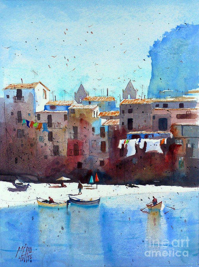 Watercolor Painting - Rawer At Cefalu by Andre MEHU