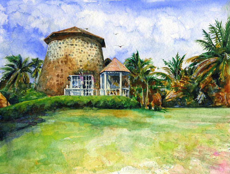 Sugar Mill Painting - Rawlins Plantation Inn St. Kitts by John D Benson