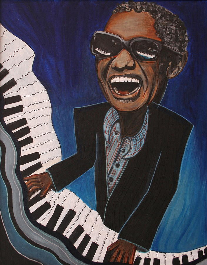 Piano Painting - Ray Charles On Piano by Kate Fortin
